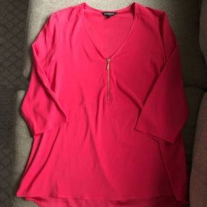 Express Neon Pink Gold Zip-Up 3/4 Sleeve Blouse